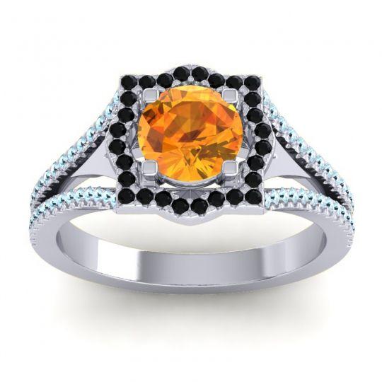 Ornate Halo Naksatra Citrine Ring with Black Onyx and Aquamarine in Platinum