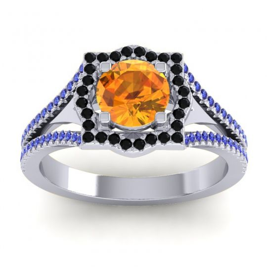 Ornate Halo Naksatra Citrine Ring with Black Onyx and Blue Sapphire in Palladium