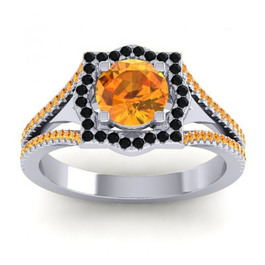 Ornate Halo Naksatra Citrine Ring with Black Onyx in 14k White Gold