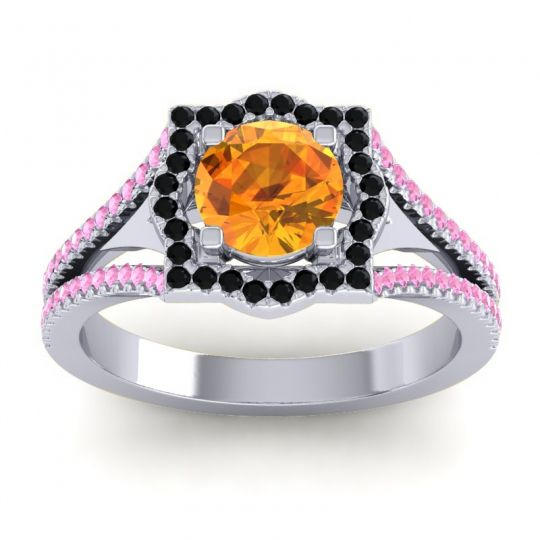 Ornate Halo Naksatra Citrine Ring with Black Onyx and Pink Tourmaline in 18k White Gold