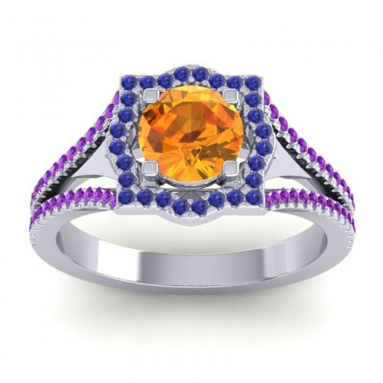 Ornate Halo Naksatra Citrine Ring with Blue Sapphire and Amethyst in 14k White Gold
