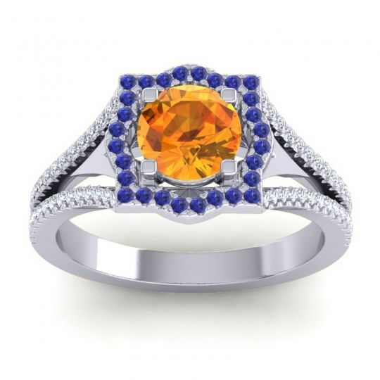 Ornate Halo Naksatra Citrine Ring with Blue Sapphire and Diamond in Palladium