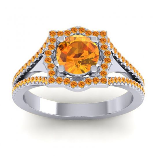 Ornate Halo Naksatra Citrine Ring in 18k White Gold