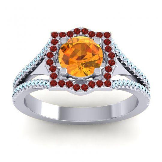Ornate Halo Naksatra Citrine Ring with Garnet and Aquamarine in 14k White Gold
