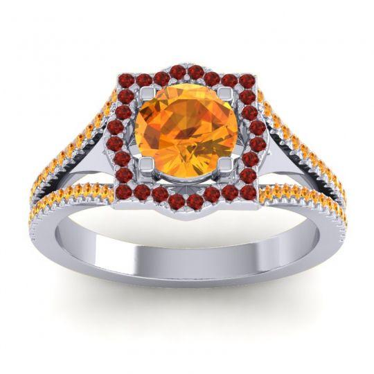 Ornate Halo Naksatra Citrine Ring with Garnet in Platinum