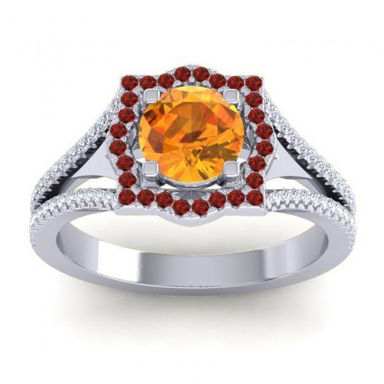 Ornate Halo Naksatra Citrine Ring with Garnet and Diamond in Platinum