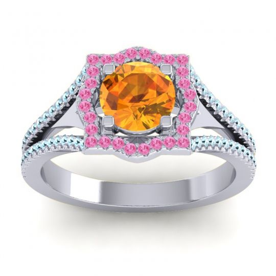 Ornate Halo Naksatra Citrine Ring with Pink Tourmaline and Aquamarine in Platinum