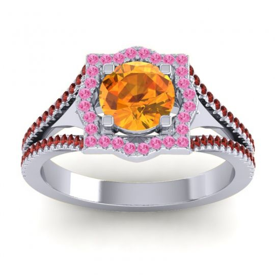 Ornate Halo Naksatra Citrine Ring with Pink Tourmaline and Garnet in 18k White Gold