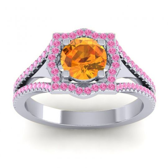 Ornate Halo Naksatra Citrine Ring with Pink Tourmaline in 18k White Gold