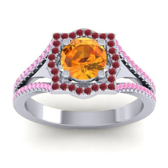 Ornate Halo Naksatra Citrine Ring with Ruby and Pink Tourmaline in 18k White Gold
