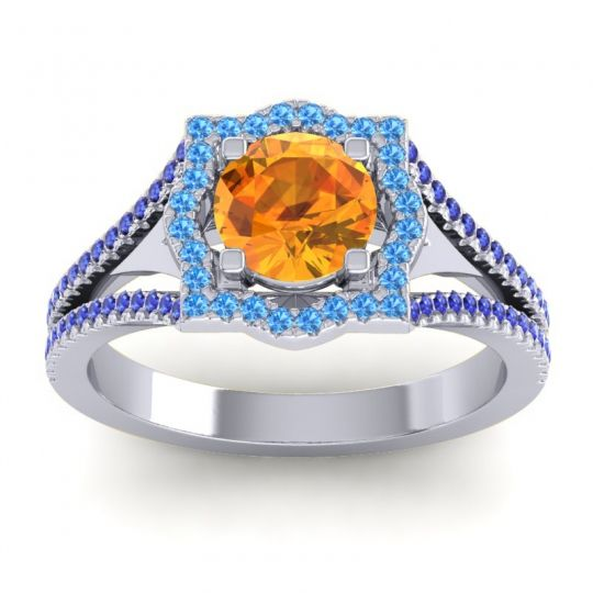 Ornate Halo Naksatra Citrine Ring with Swiss Blue Topaz and Blue Sapphire in 18k White Gold