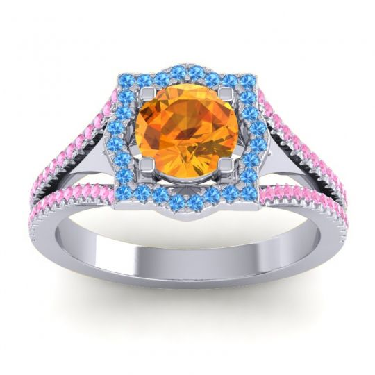 Ornate Halo Naksatra Citrine Ring with Swiss Blue Topaz and Pink Tourmaline in 18k White Gold