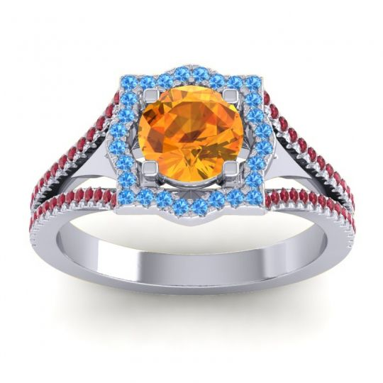 Ornate Halo Naksatra Citrine Ring with Swiss Blue Topaz and Ruby in 18k White Gold