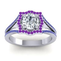 Ornate Halo Naksatra Diamond Ring with Amethyst and Blue Sapphire in Palladium