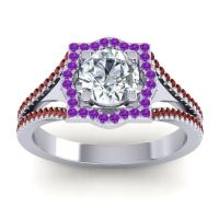 Ornate Halo Naksatra Diamond Ring with Amethyst and Garnet in 14k White Gold