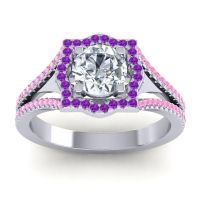 Ornate Halo Naksatra Diamond Ring with Amethyst and Pink Tourmaline in 18k White Gold