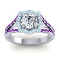 Ornate Halo Naksatra Diamond Ring with Aquamarine and Amethyst in 14k White Gold
