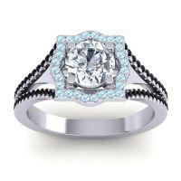 Ornate Halo Naksatra Diamond Ring with Aquamarine and Black Onyx in Platinum