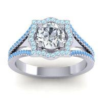 Ornate Halo Naksatra Diamond Ring with Aquamarine and Swiss Blue Topaz in Platinum
