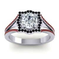 Ornate Halo Naksatra Diamond Ring with Black Onyx and Garnet in Platinum