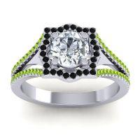 Ornate Halo Naksatra Diamond Ring with Black Onyx and Peridot in Palladium