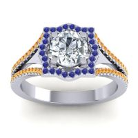 Ornate Halo Naksatra Diamond Ring with Blue Sapphire and Citrine in 14k White Gold