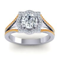Ornate Halo Naksatra Diamond Ring with Citrine in 18k White Gold