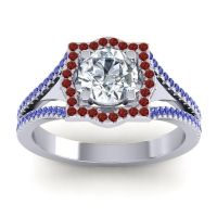 Ornate Halo Naksatra Diamond Ring with Garnet and Blue Sapphire in Platinum