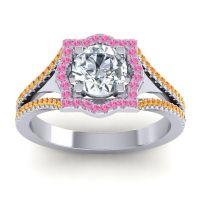 Ornate Halo Naksatra Diamond Ring with Pink Tourmaline and Citrine in Platinum