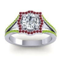Ornate Halo Naksatra Diamond Ring with Ruby and Peridot in 14k White Gold