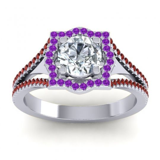 Ornate Halo Naksatra Diamond Ring with Amethyst and Garnet in 18k White Gold