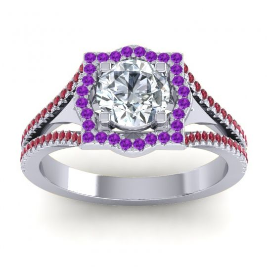 Ornate Halo Naksatra Diamond Ring with Amethyst and Ruby in 14k White Gold