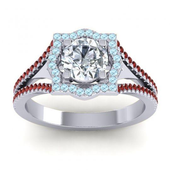 Ornate Halo Naksatra Diamond Ring with Aquamarine and Garnet in Platinum