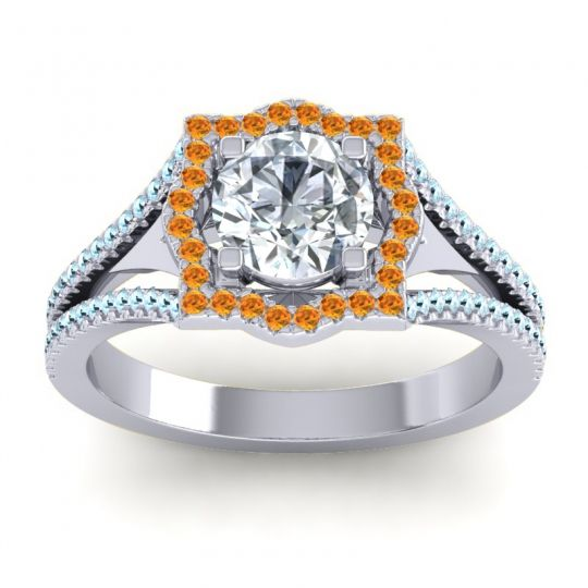 Ornate Halo Naksatra Diamond Ring with Citrine and Aquamarine in 18k White Gold