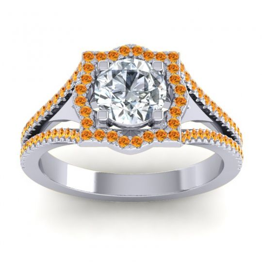 Ornate Halo Naksatra Diamond Ring with Citrine in Palladium