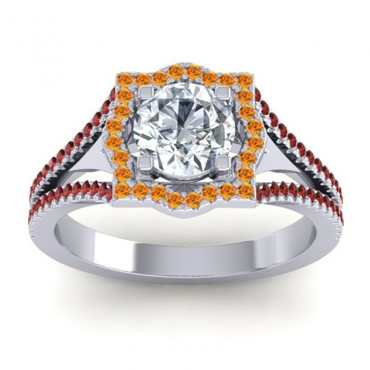 Ornate Halo Naksatra Diamond Ring with Citrine and Garnet in 14k White Gold