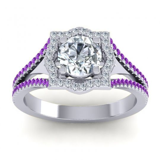 Ornate Halo Naksatra Diamond Ring with Amethyst in 14k White Gold