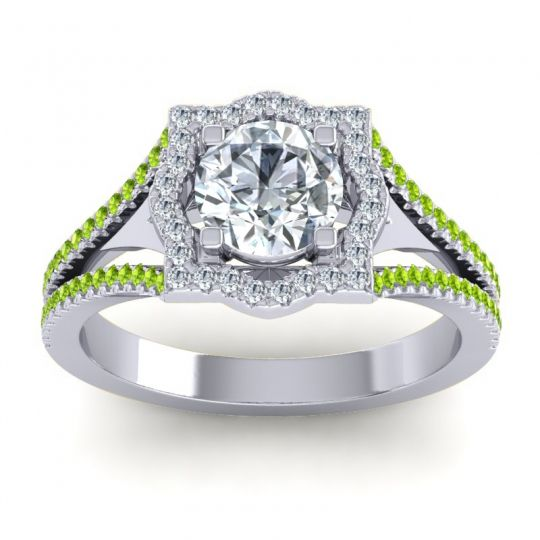 Ornate Halo Naksatra Diamond Ring with Peridot in Platinum