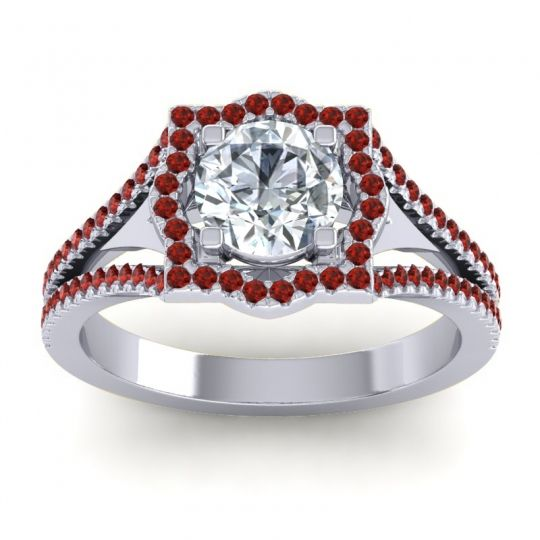 Ornate Halo Naksatra Diamond Ring with Garnet in 18k White Gold