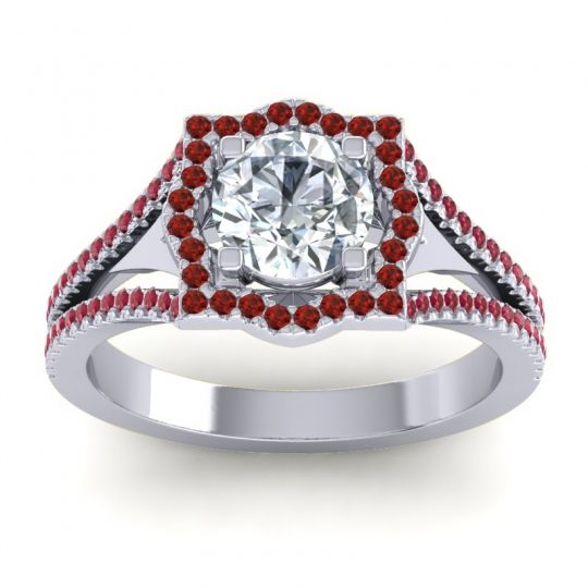 Ornate Halo Naksatra Diamond Ring with Garnet and Ruby in Platinum