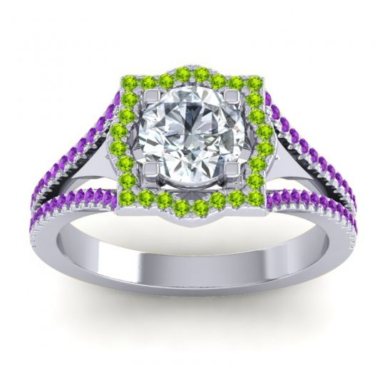 Ornate Halo Naksatra Diamond Ring with Peridot and Amethyst in 14k White Gold