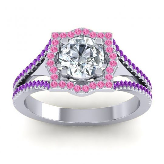 Ornate Halo Naksatra Diamond Ring with Pink Tourmaline and Amethyst in 14k White Gold