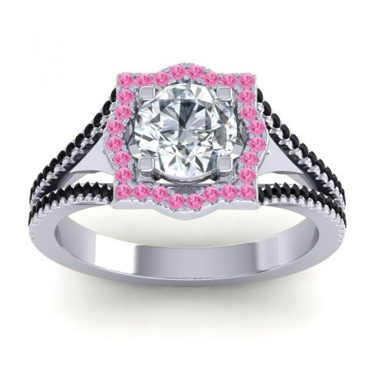 Ornate Halo Naksatra Diamond Ring with Pink Tourmaline and Black Onyx in Platinum