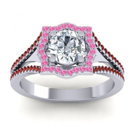 Ornate Halo Naksatra Diamond Ring with Pink Tourmaline and Garnet in Platinum