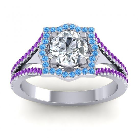 Ornate Halo Naksatra Diamond Ring with Swiss Blue Topaz and Amethyst in Palladium