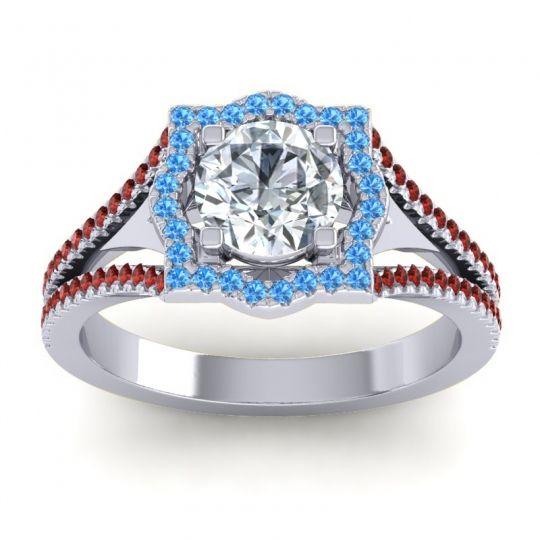 Ornate Halo Naksatra Diamond Ring with Swiss Blue Topaz and Garnet in 14k White Gold