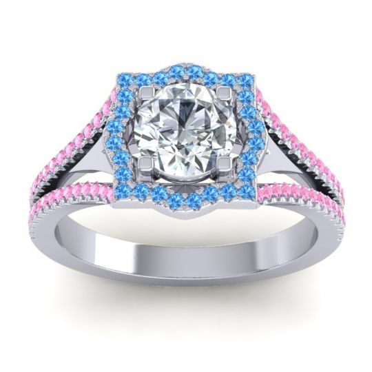 Ornate Halo Naksatra Diamond Ring with Swiss Blue Topaz and Pink Tourmaline in 18k White Gold