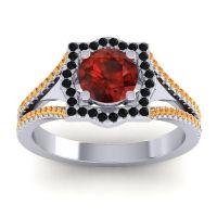 Ornate Halo Naksatra Garnet Ring with Black Onyx and Citrine in Platinum