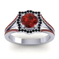 Ornate Halo Naksatra Garnet Ring with Black Onyx in Platinum