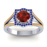 Ornate Halo Naksatra Garnet Ring with Blue Sapphire and Citrine in Platinum